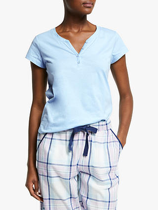 Buy John Lewis & Partners Cotton Jersey Short Sleeve Placket Detail Pyjama Top, Blue, 8 Online at johnlewis.com