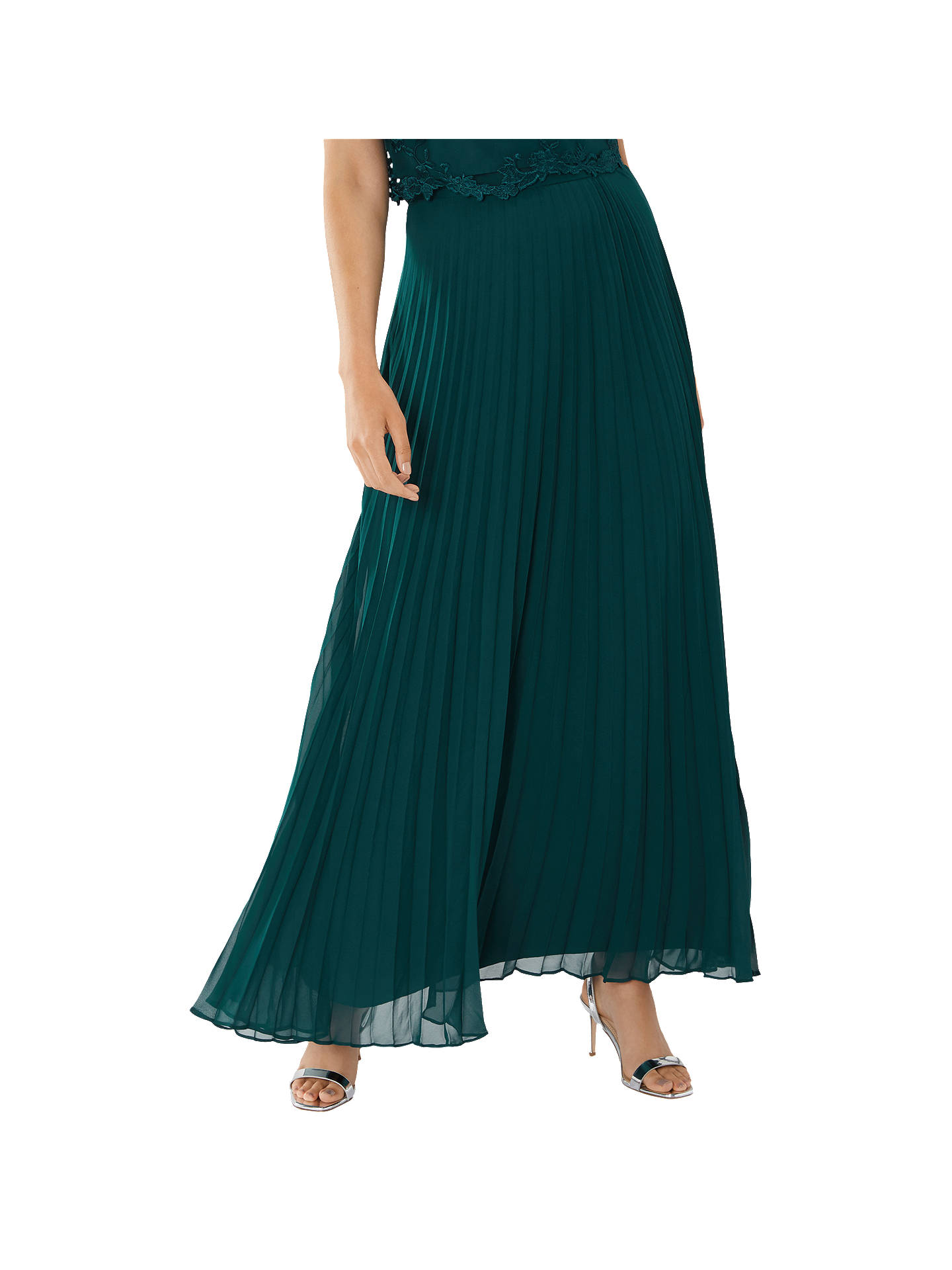 be8010c684a7 Buy Coast Imi Pleated Maxi Skirt, Forest, 10 Online at johnlewis.com ...