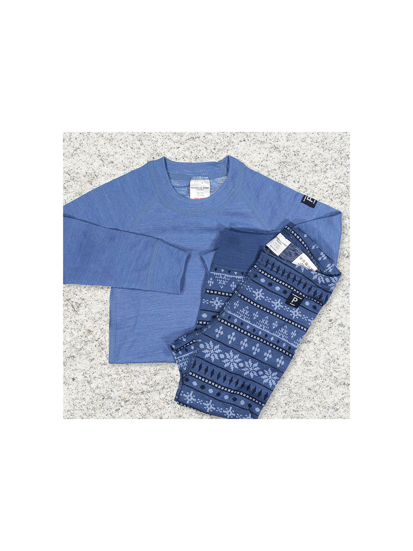 BuyPolarn O. Pyret Baby Merino Long Johns, Blue, 6-12 months Online at johnlewis.com