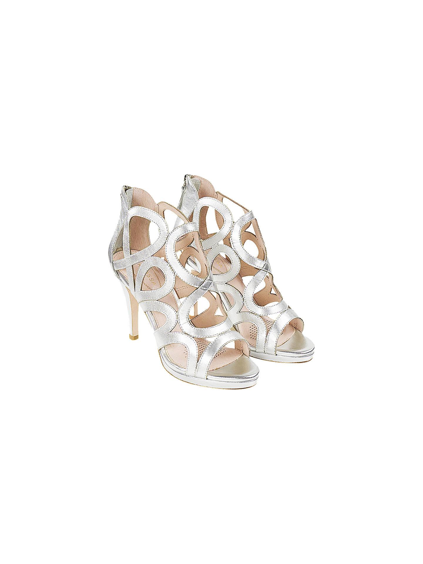 a40fd0f9b215 ... Buy Sargossa Redefined Stiletto Heel Sandals, Silver Leather, 8 Online  at johnlewis.com ...