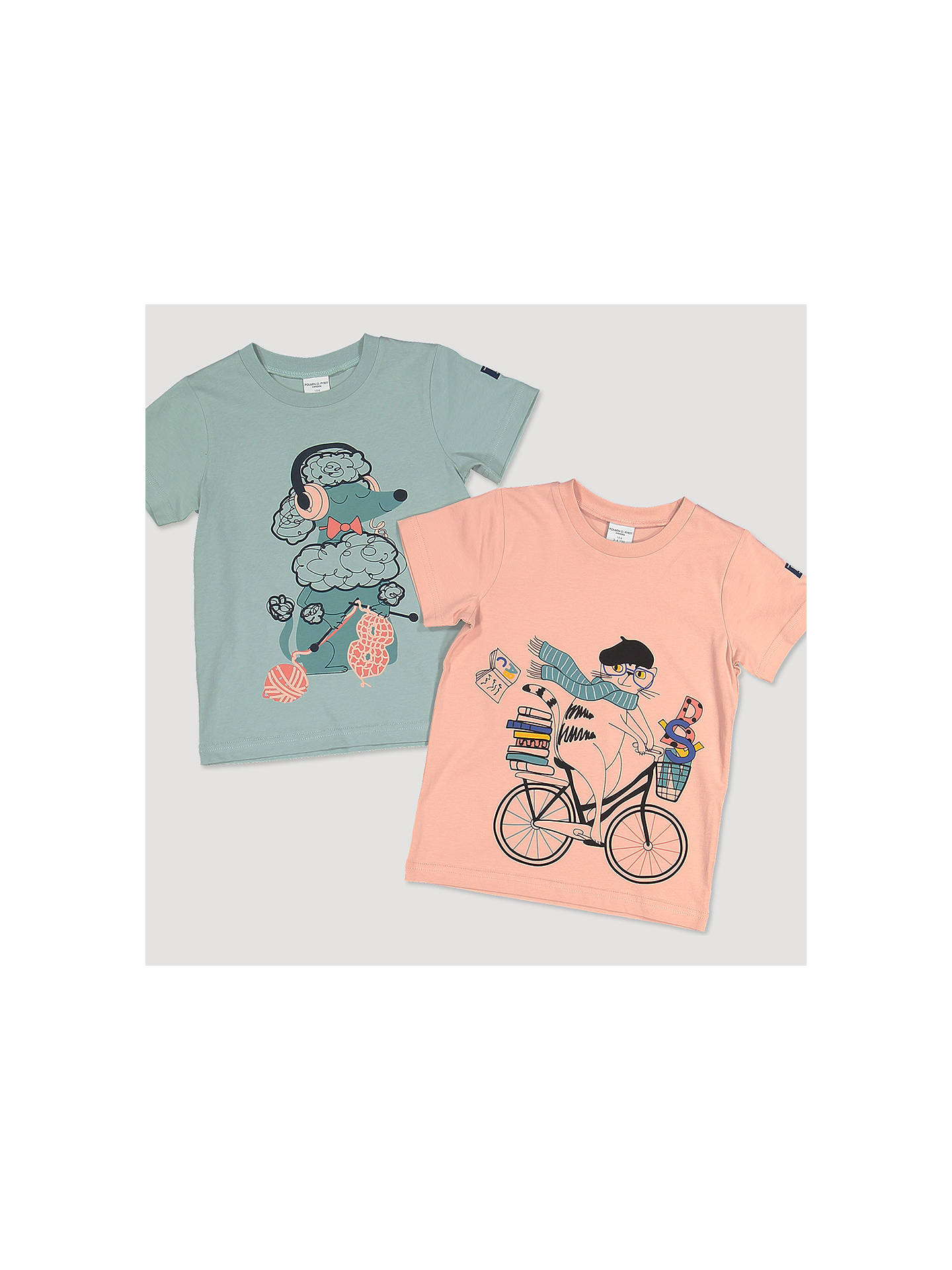 BuyPolarn O. Pyret Baby GOTS Organic Cotton Poodle Graphic T-Shirt, Green, 12-18 months Online at johnlewis.com