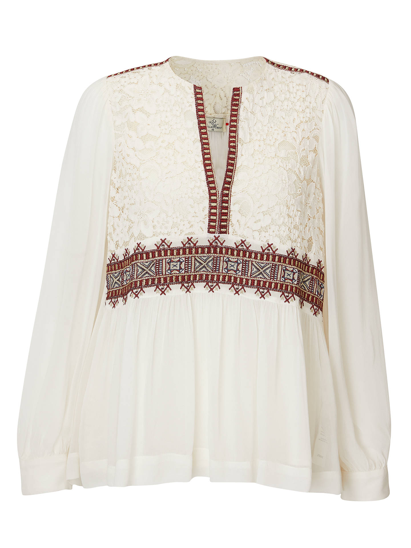 Buy Stella Forest Tonya Lace Trim Top, Ecru, 10 Online at johnlewis.com