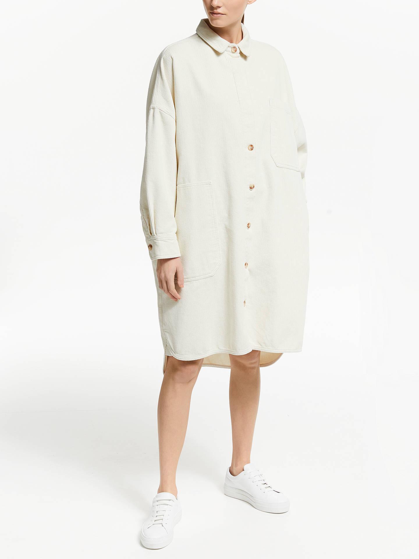 Kin Oversized Cord Shirt Dress, Natural by Kin
