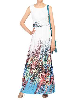 Jolie Moi Floral Print Chiffon Maxi Dress, White/Multi