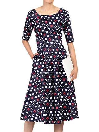 Jolie Moi Lip Print Midi Dress, Navy/Multi