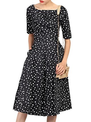 Jolie Moi Half Sleeve Scoop Neck Swing Dress, Black Pattern