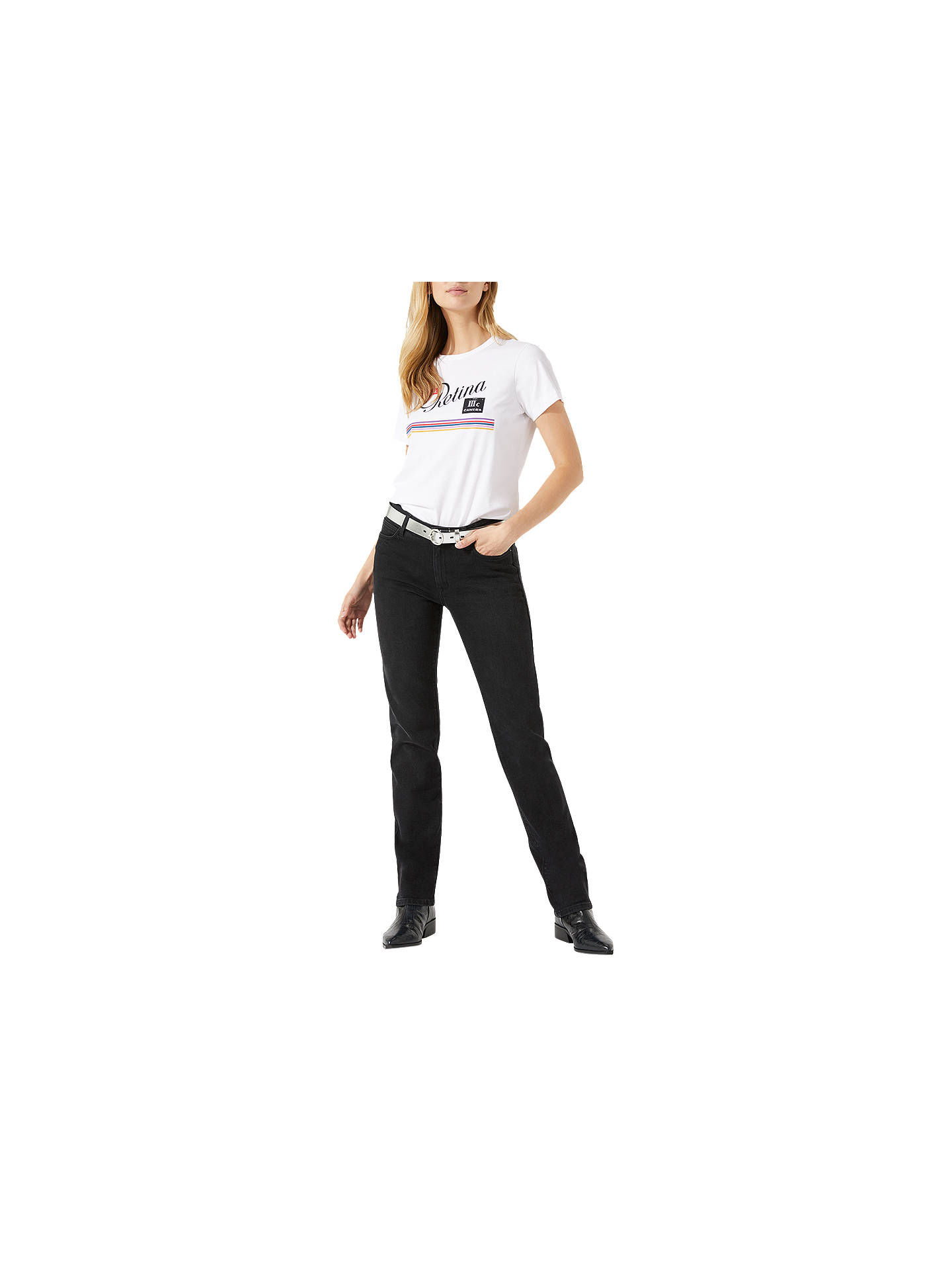 Buy Jigsaw Windsor Straight Leg Jeans, Black, 26 Online at johnlewis.com