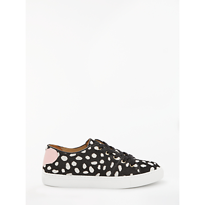 Rogue Spotted Sweetheart Lace Up Trainers, Black/White