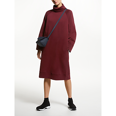 Kin Jersey Roll Neck Dress, Red