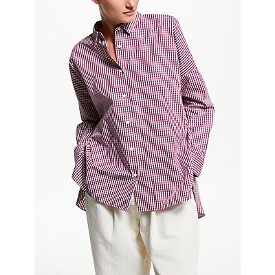 Kin Oversized Gingham Shirt, Red/White