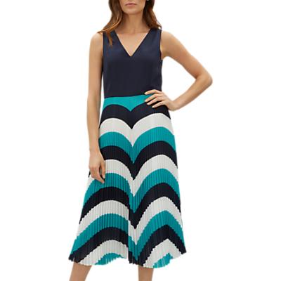 Jaeger Colour Block Skirt Dress, Navy