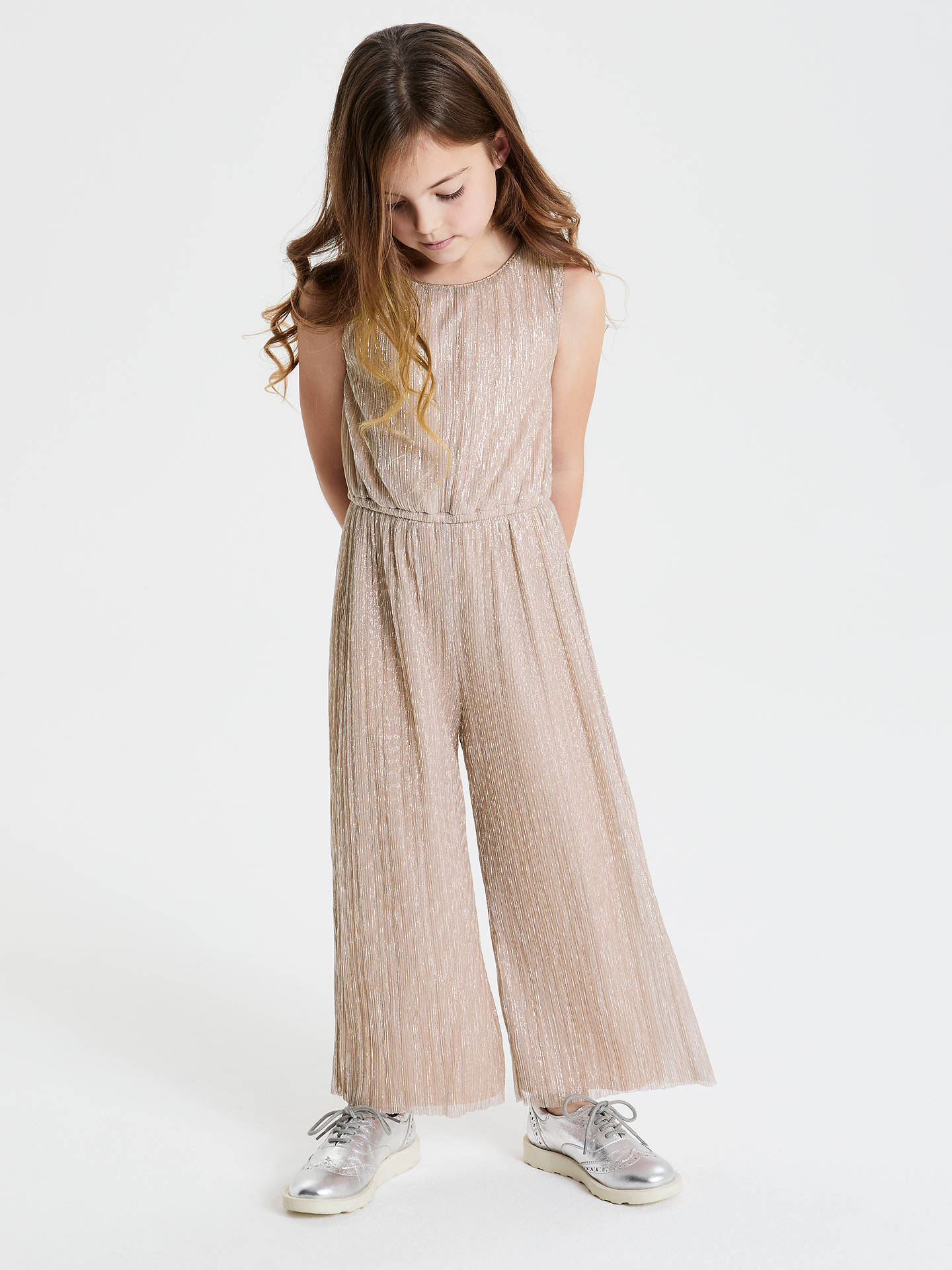 BuyJohn Lewis & Partners Girls' Metallic Jumpsuit, Rose Gold, 8 years Online at johnlewis.com