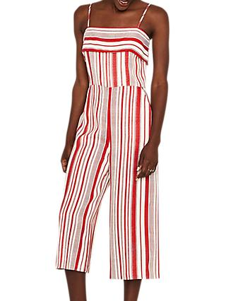 Oasis Stripe Jumpsuit, White/Red