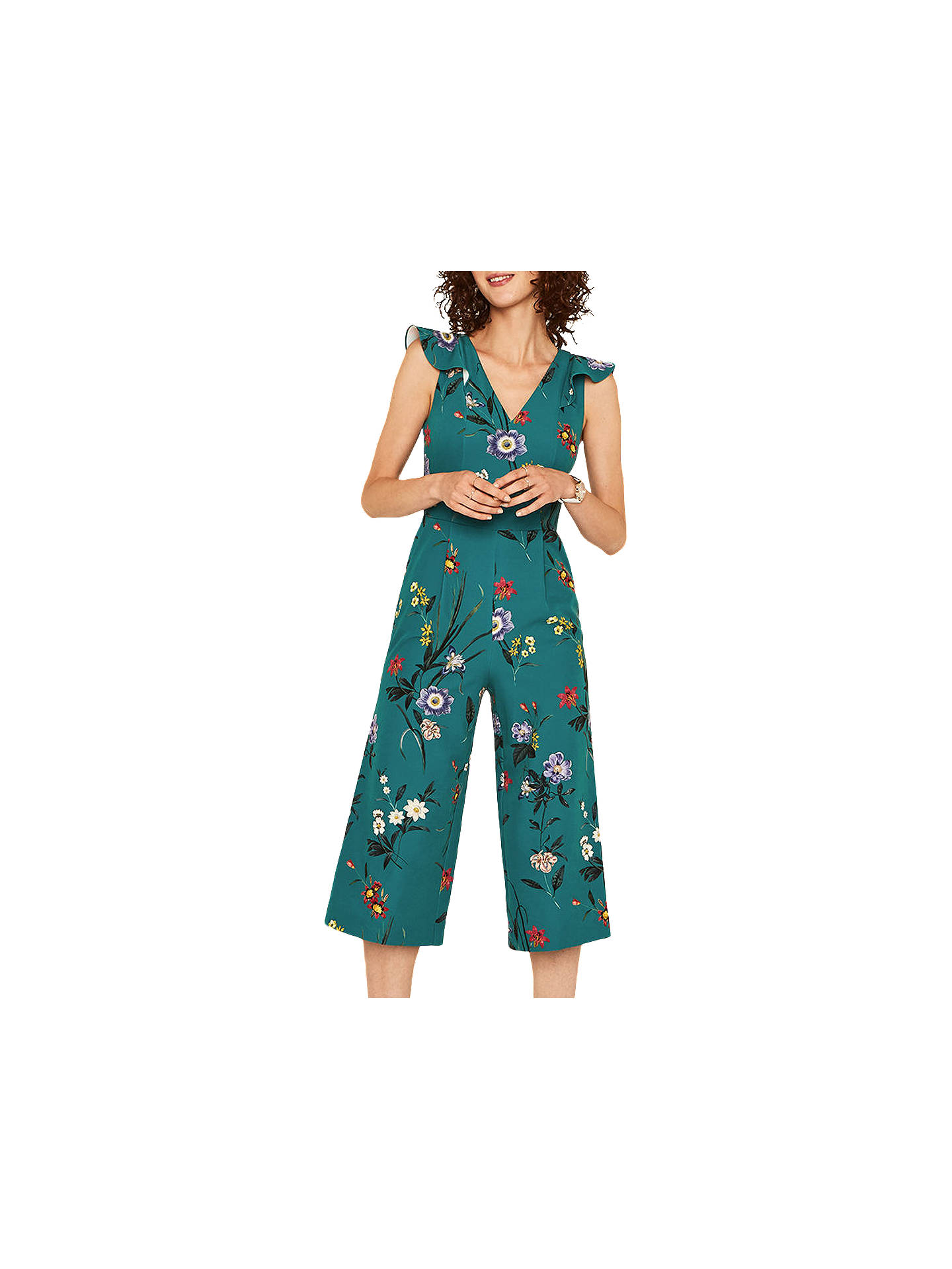 a86b4f0045b0 Buy Oasis Floral Frill Jumpsuit, Green/Multi, 6 Online at johnlewis.com ...