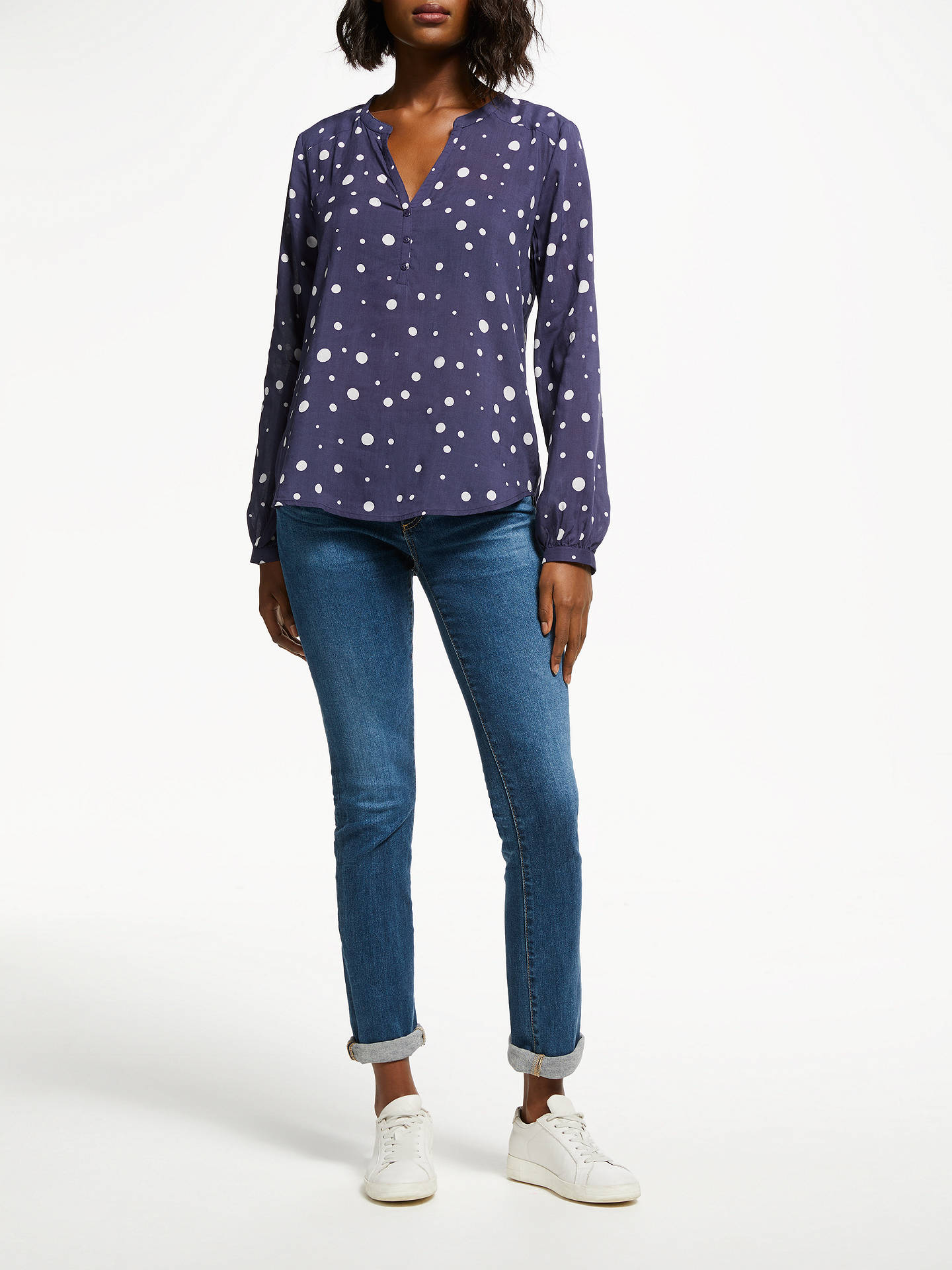 BuyPyrus Lizzie Spotted Print Blouse, Navy Dot, XS Online at johnlewis.com