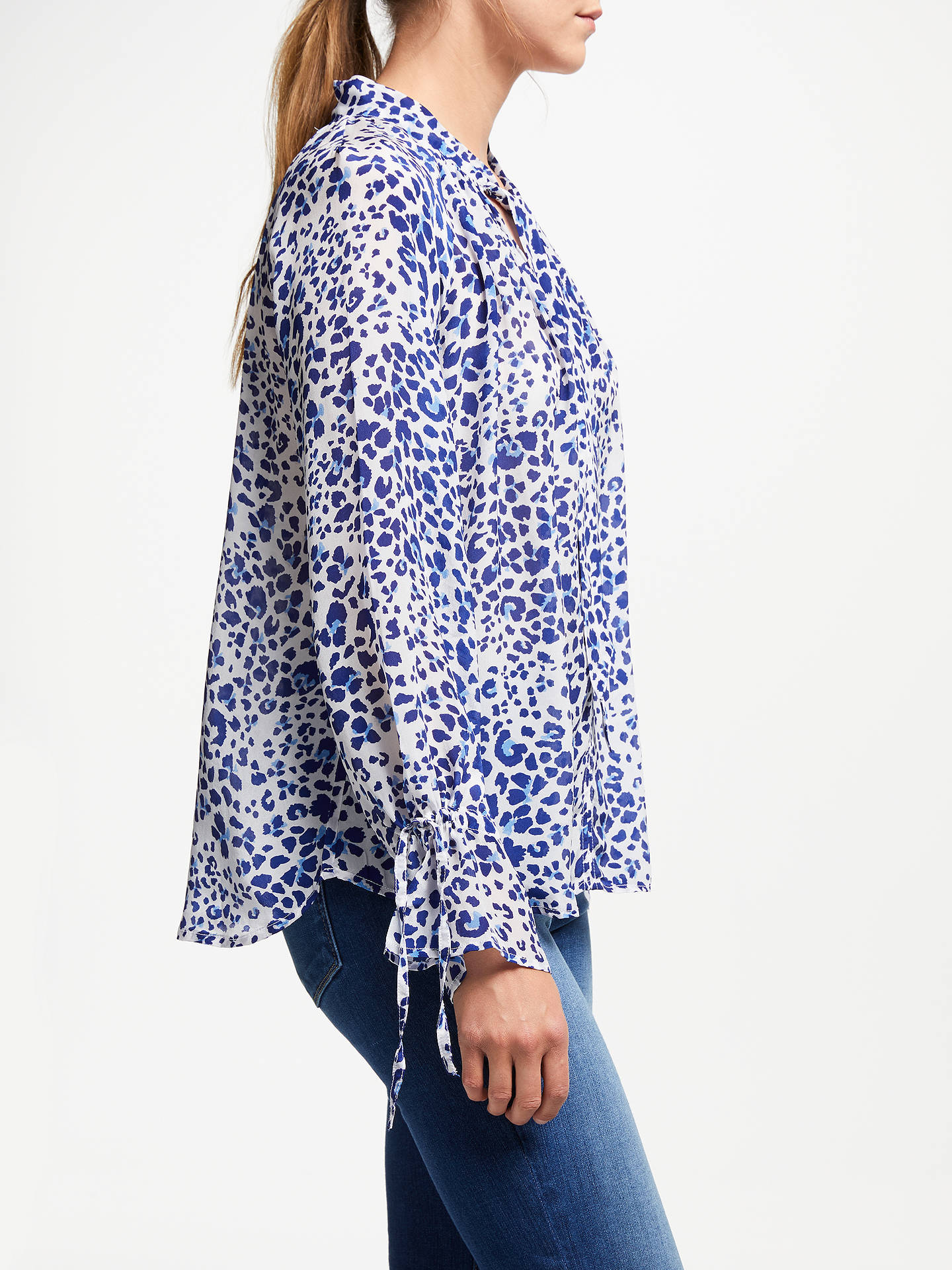 Buy Pyrus Anais Animal Print Blouse, Blue, S Online at johnlewis.com