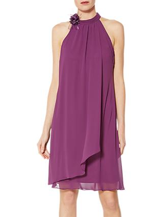 Gina Bacconi Orchid High Neck Chiffon Dress, Plum