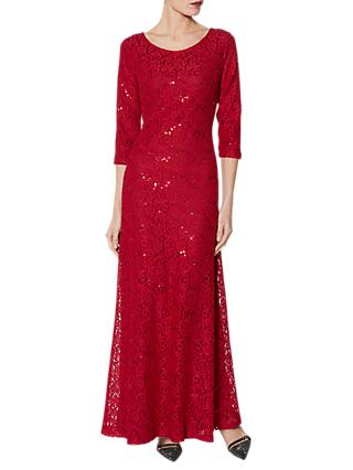 Gina Bacconi Milica Sequin Lace Maxi Dress, Winter Red