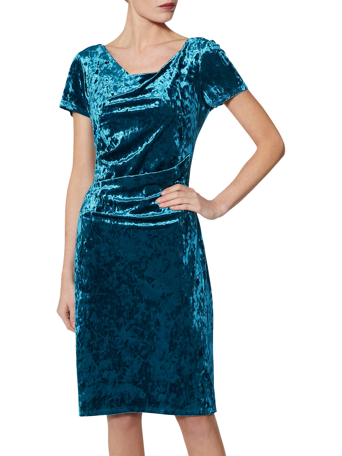 BuyGina Bacconi Sigrid Velvet Dress, Teal, 16 Online at johnlewis.com