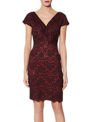 Gina Bacconi Samuella Stretch Lace Dress, Black/Red