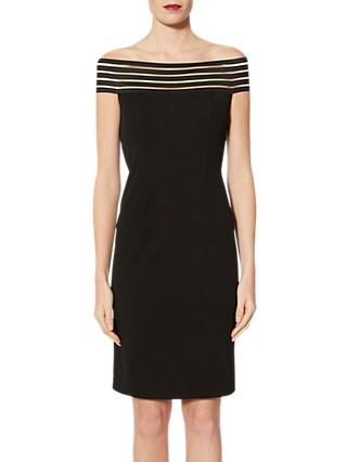 Gina Bacconi Shoulder Drape Dress, Black