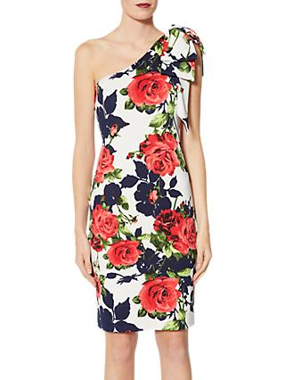 Gina Bacconi Zelda Floral Print One Shoulder Dress, White/Multi