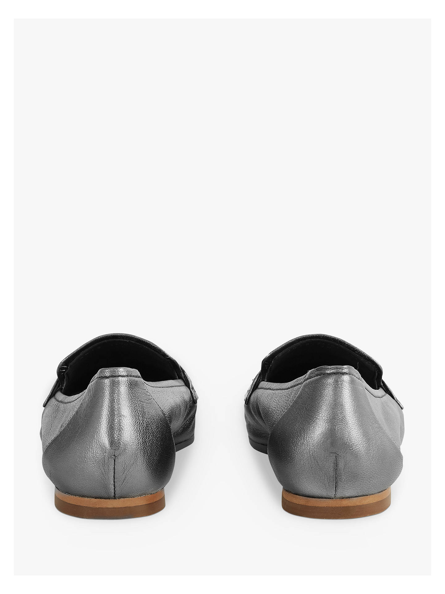 BuyReiss Elba Metallic Leather Loafers, Pewter, 4 Online at johnlewis.com