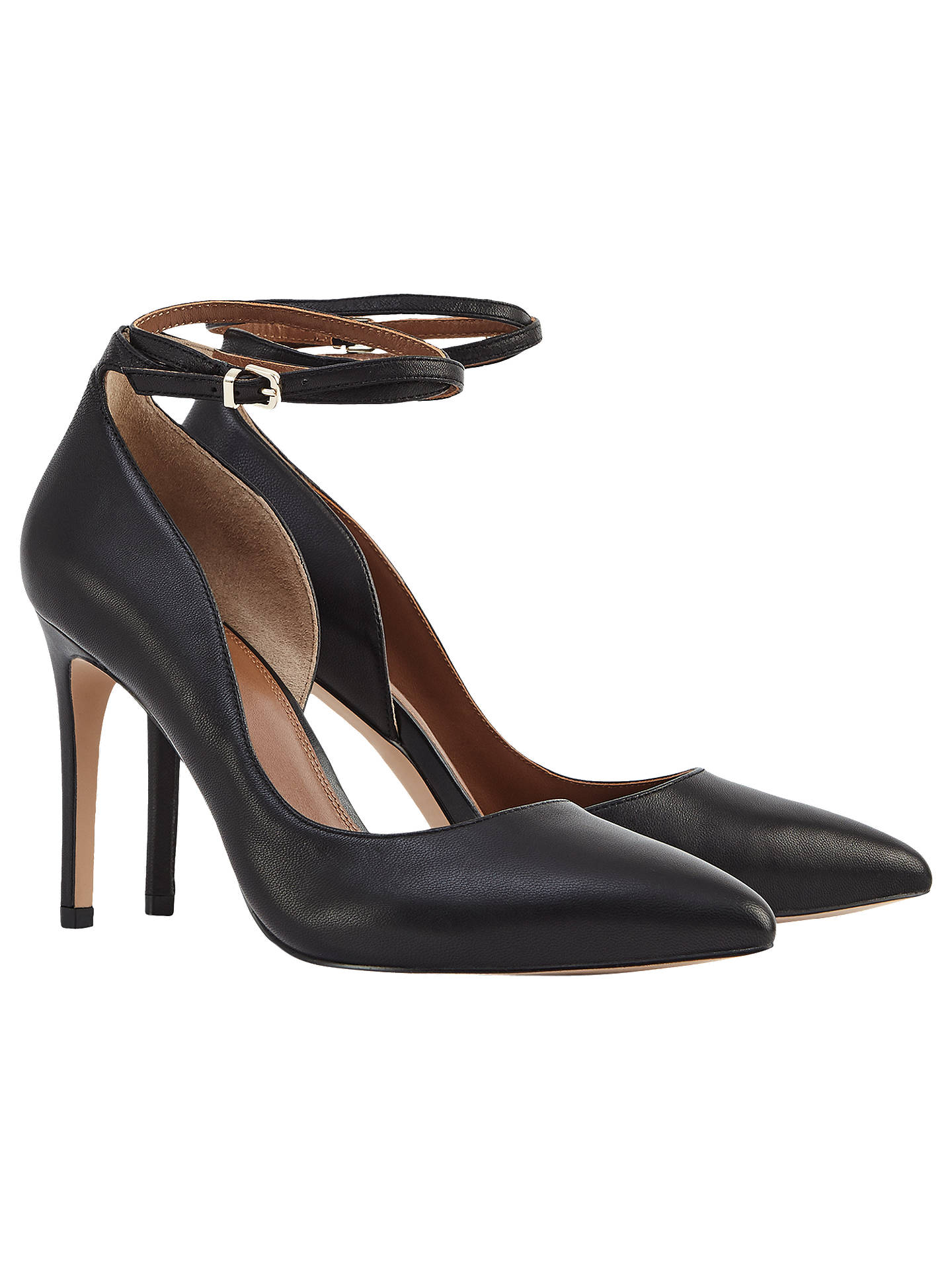 Buy Reiss Lya Leather Ankle Strap Shoes, Black, 3 Online at johnlewis.com