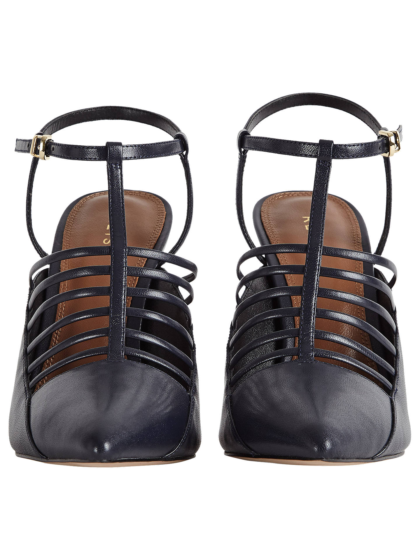 Buy Reiss Edyth Strappy Point Court Shoes, Navy, 3 Online at johnlewis.com