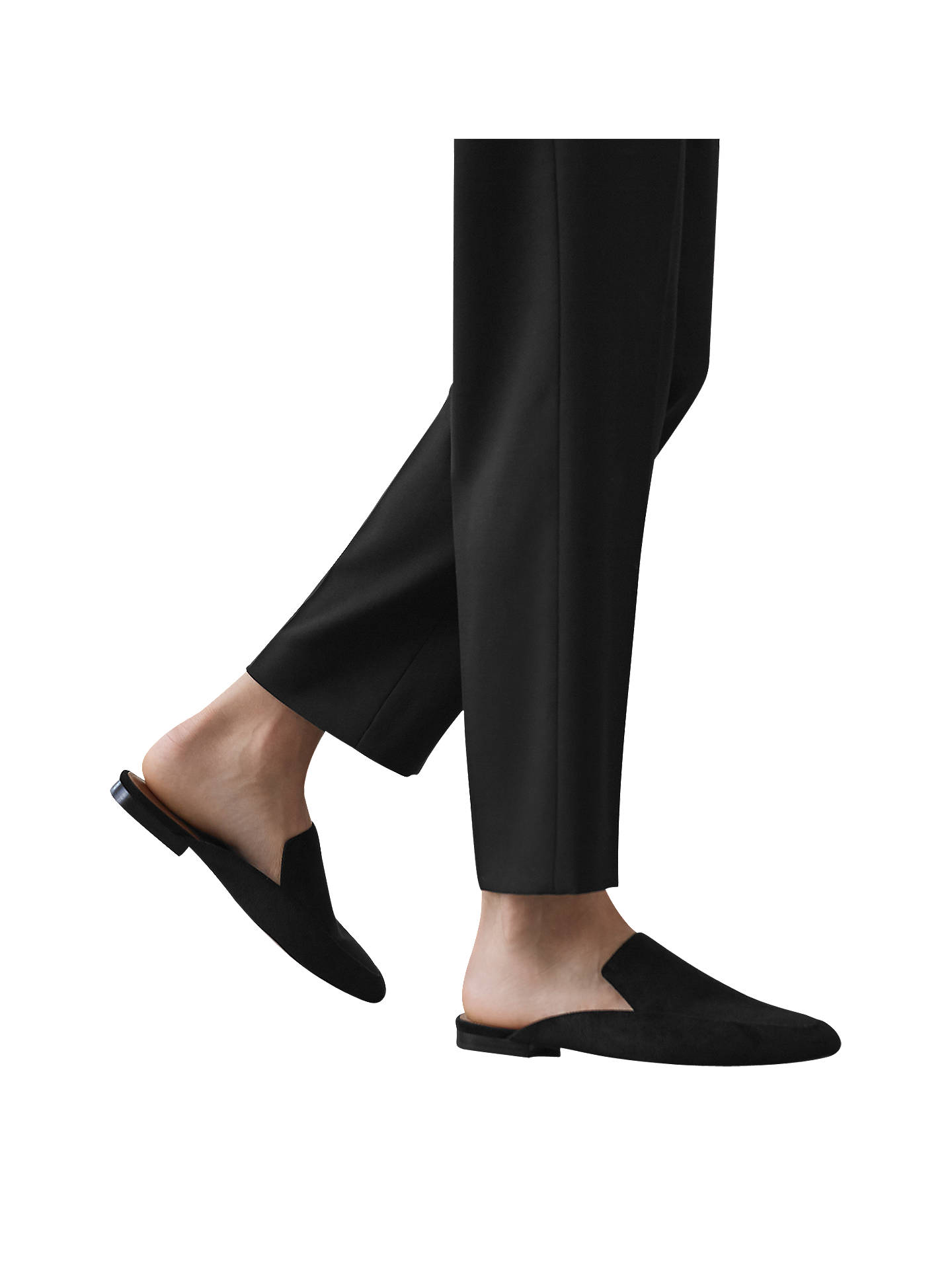 Buy Reiss Sletta Flat Heel Slide Shoes, Black, 3 Online at johnlewis.com