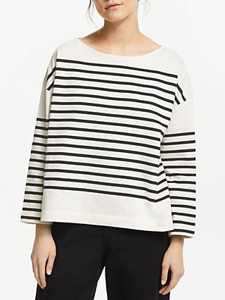 Kin Drop Shoulder Stripe Breton Top, Black