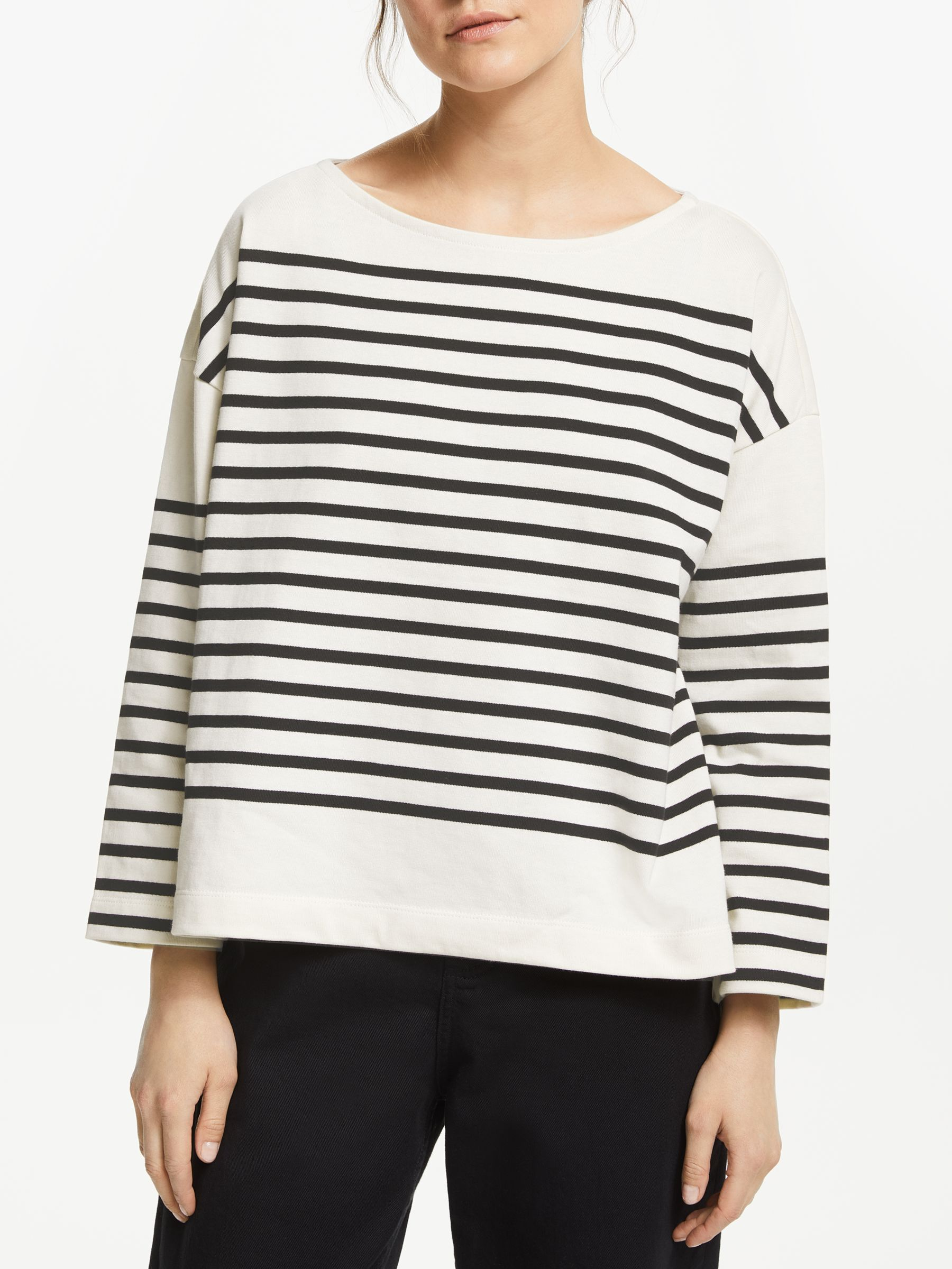 Kin Kin Drop Shoulder Stripe Breton Top, Black