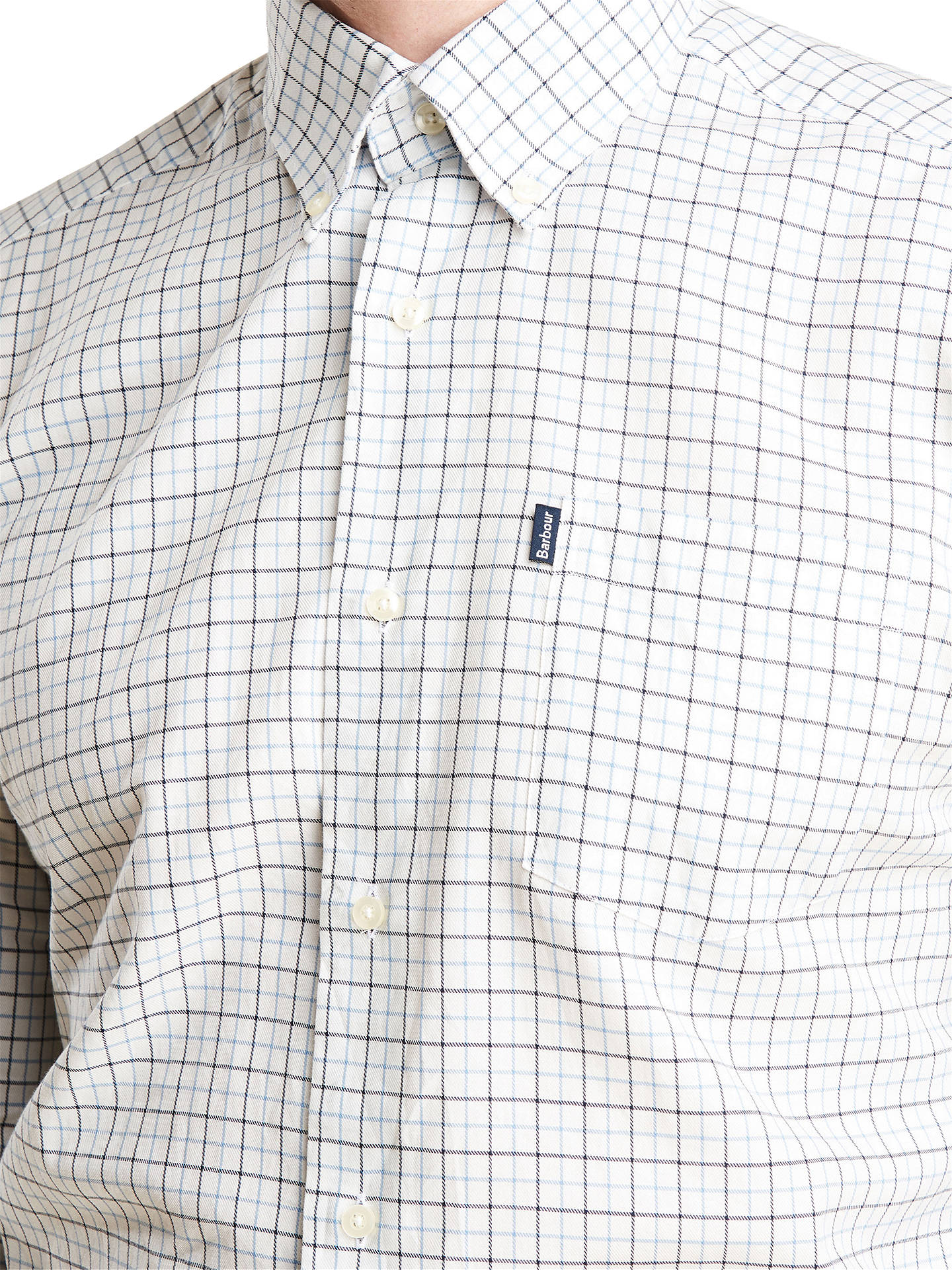 Buy Barbour Ashwood Long Sleeve Slim Check Shirt, Blue, L Online at johnlewis.com
