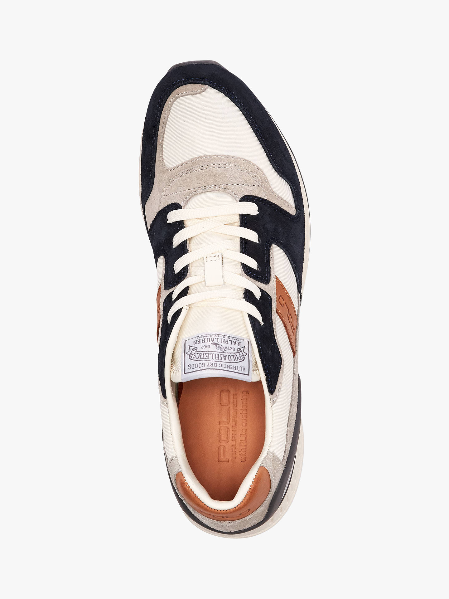 BuyPolo Ralph Lauren Train Chunky Trainers, White/Newport Navy, 9 Online at johnlewis.com