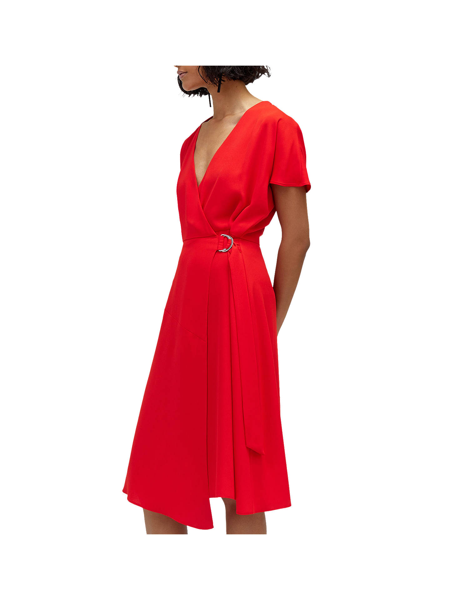 huge inventory official photos superior quality Warehouse Crepe Wrap Dress, Bright Red at John Lewis & Partners
