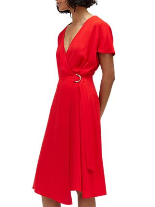 Warehouse Crepe Wrap Dress, Bright Red
