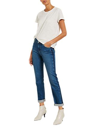 Mint Velvet Side-Striped Jeans, Blue Denim