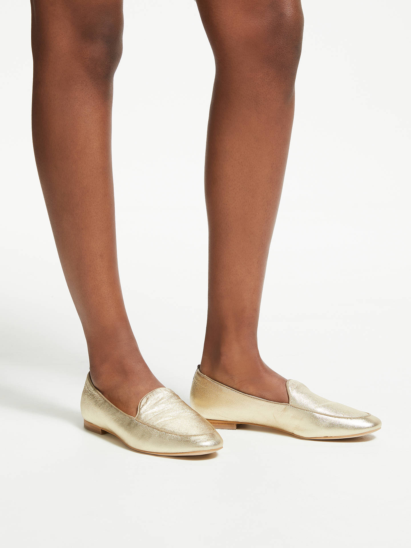 Buy Boden Imogen Leather Loafers, Pale Gold Metallic, 4 Online at johnlewis.com