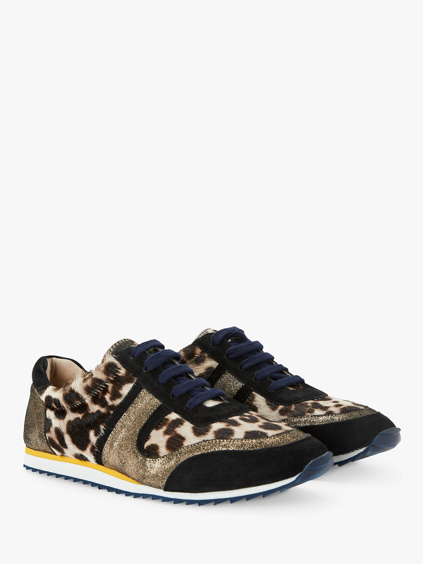 Buy Boden Hotchpotch Leopard Trainers, Snow Leopard Cowhide, 4 Online at johnlewis.com