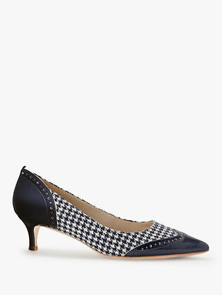 Buy Boden Rosamund Stiletto Kitten Court Shoes, Navy/Ivory Dogtooth Leather, 4 Online at johnlewis.com