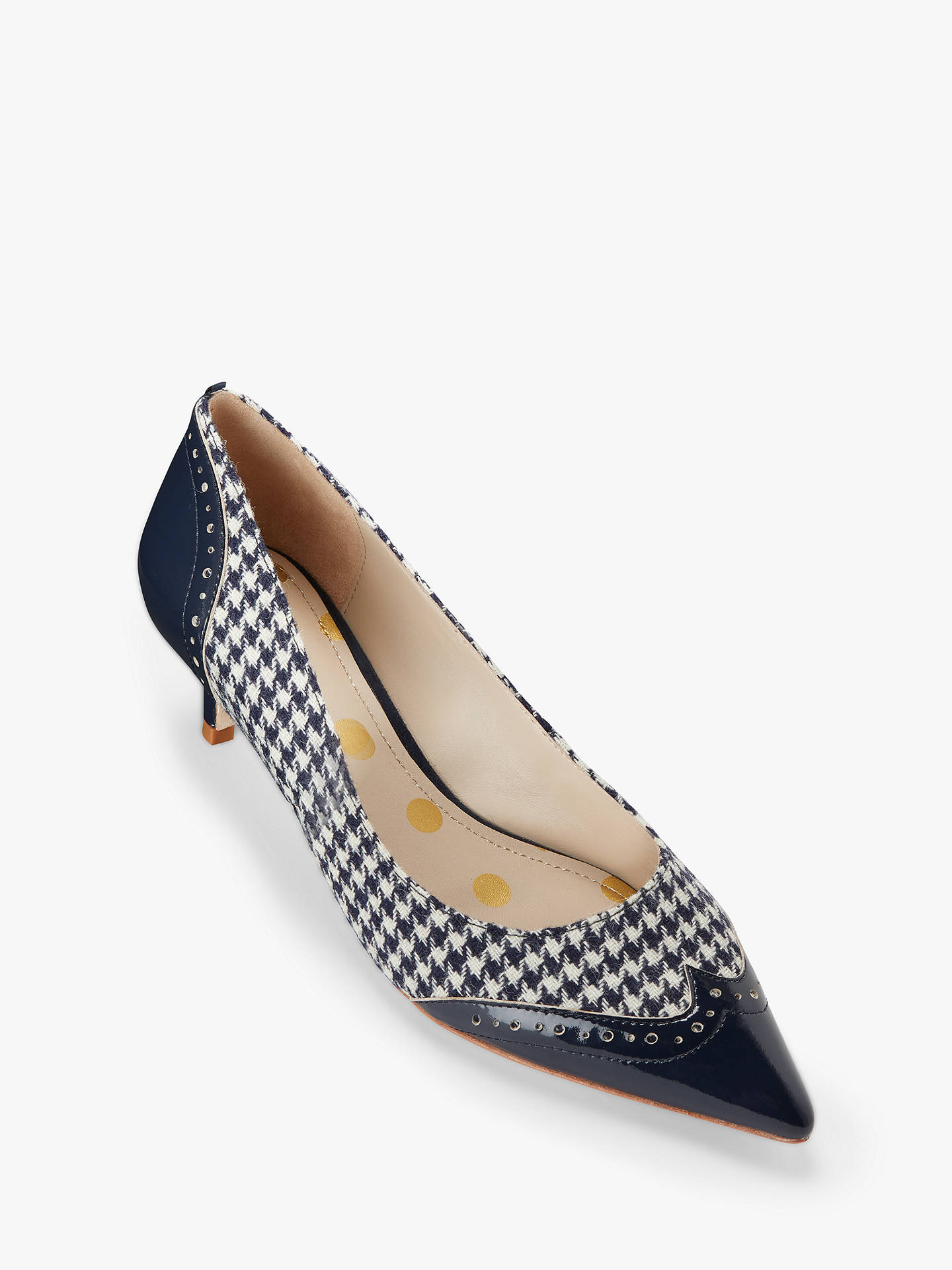 BuyBoden Rosamund Stiletto Kitten Court Shoes, Navy/Ivory Dogtooth Leather, 5 Online at johnlewis.com