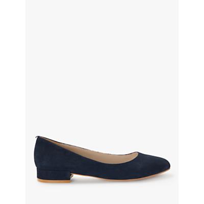 Boden Amelie Low Block Heel Court Shoes, Navy Suede