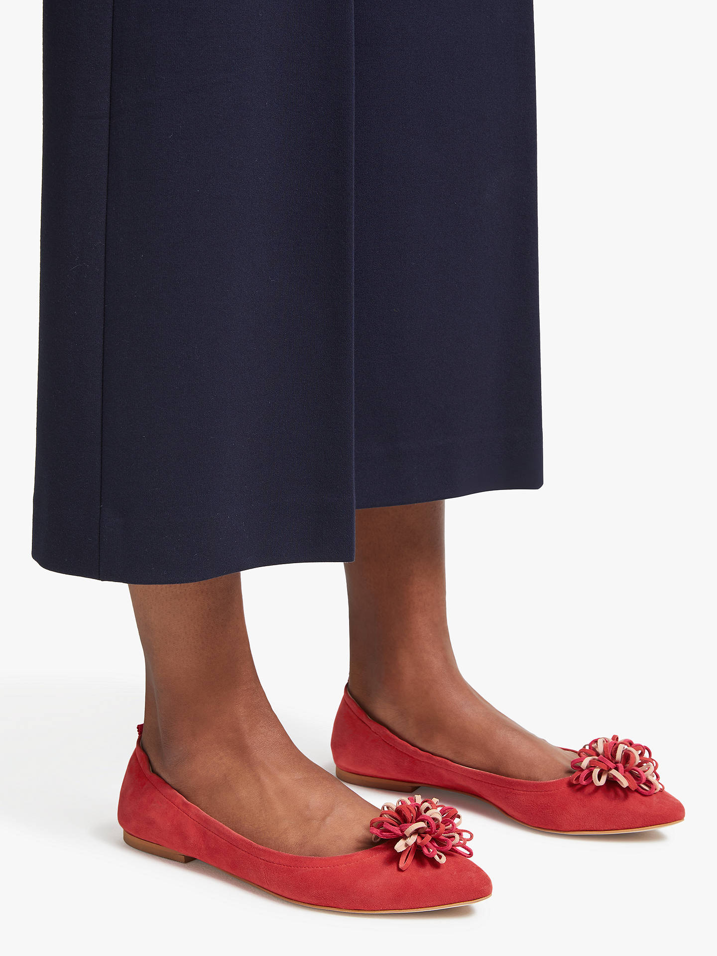 BuyBoden Belle Ballerina Pumps, Post Box Red Suede, 4 Online at johnlewis.com