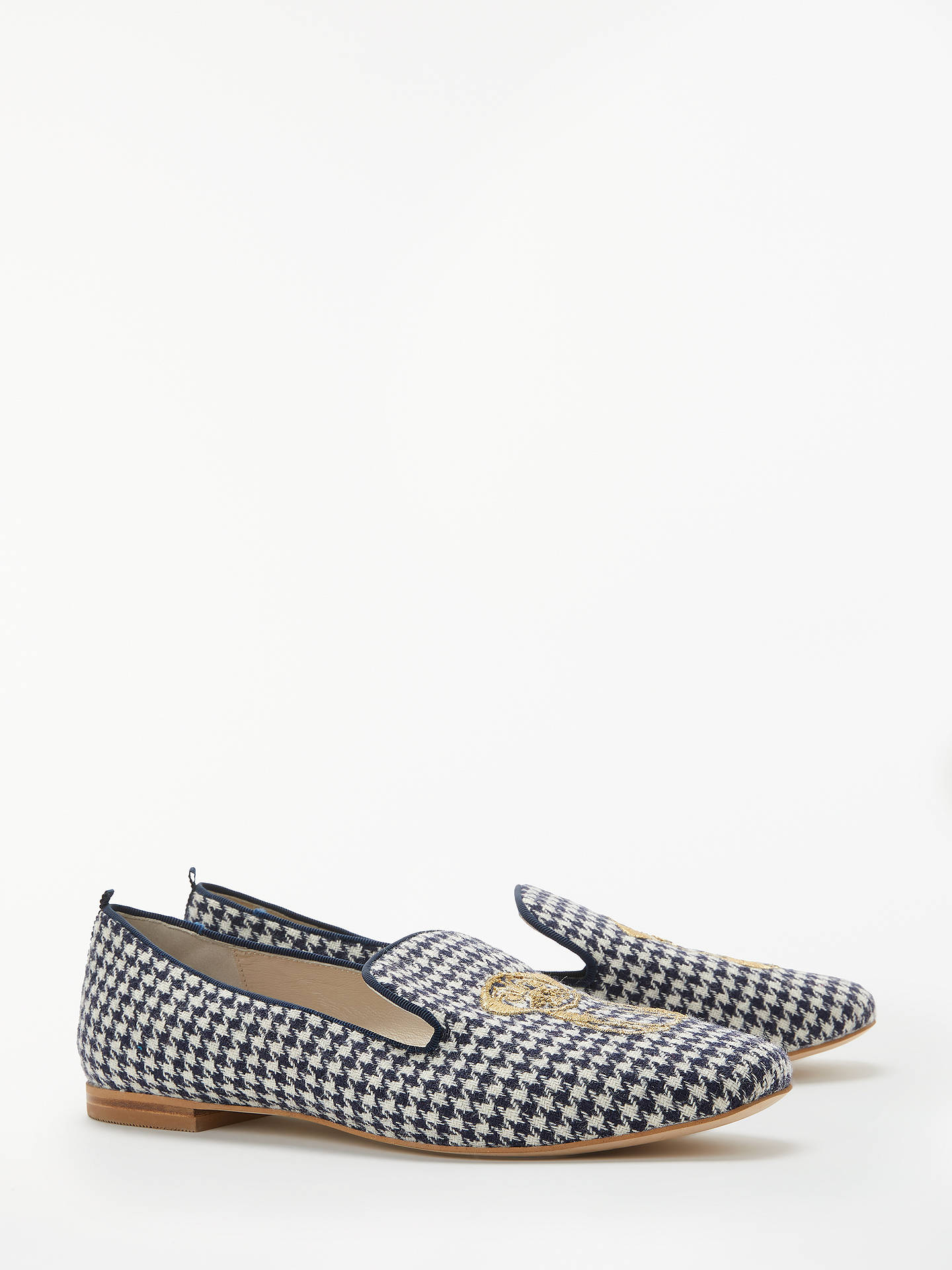 Buy Boden Elsie Embroidered Slipper Loafers, Navy/Ivory Dogtooth, 4 Online at johnlewis.com