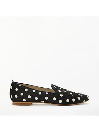 Boden Imogen Hair-On-Hide Loafers, Black/White Spot