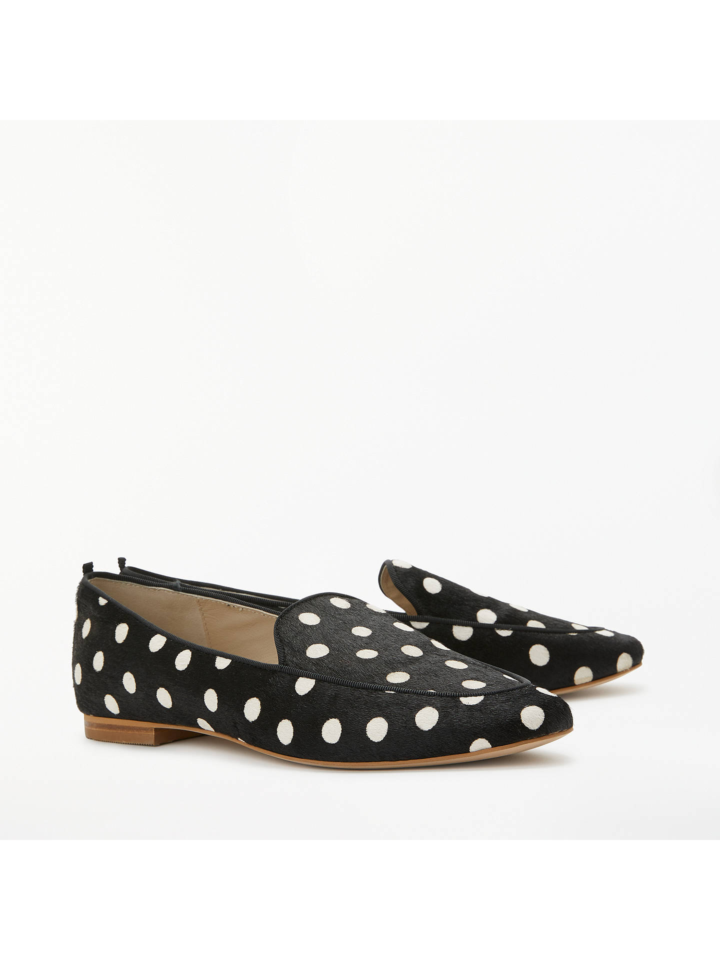 Buy Boden Imogen Hair-On-Hide Loafers, Black/White Spot, 4 Online at johnlewis.com