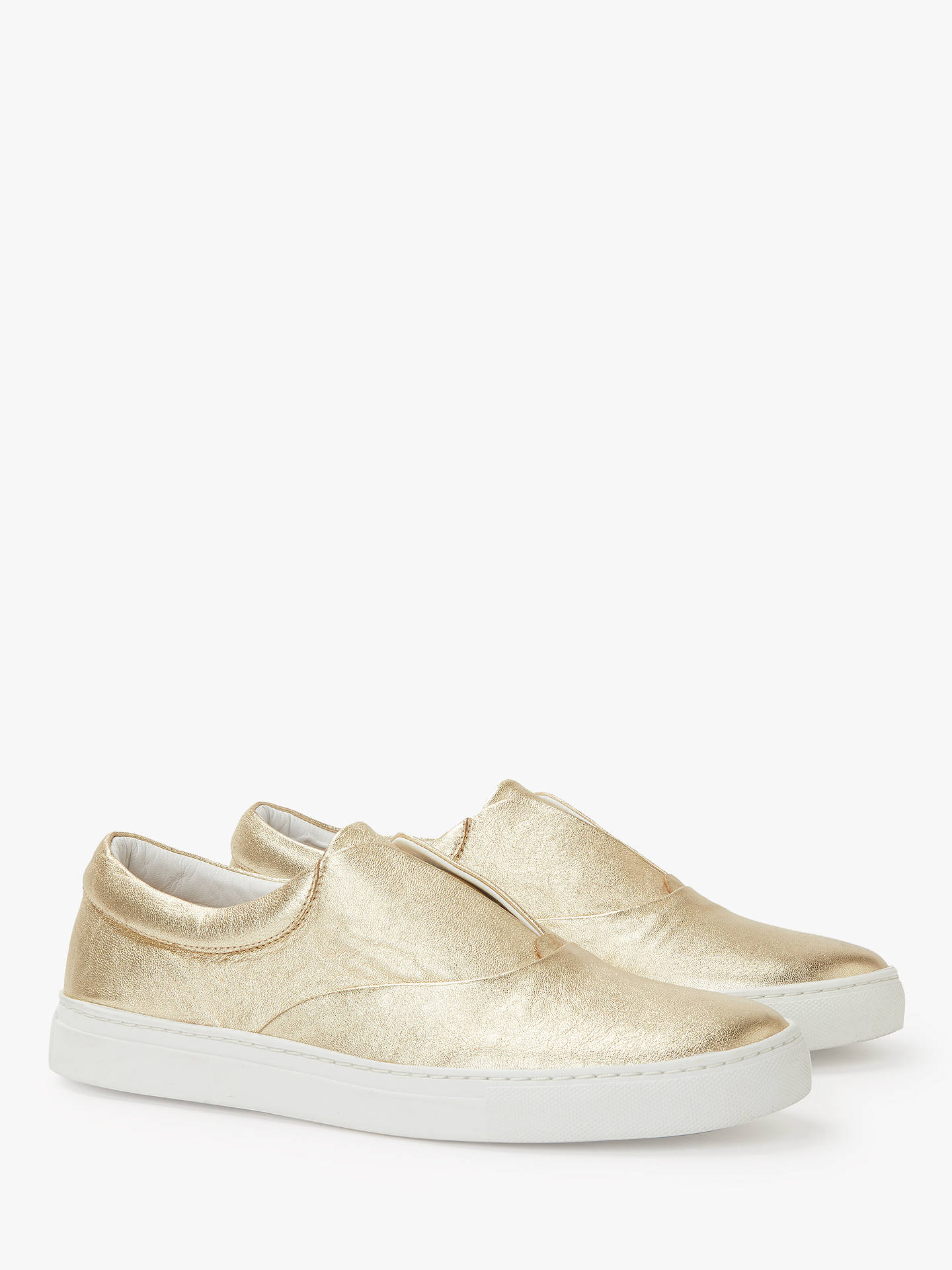 Buy Boden Metallic Slip On Trainers, Gold Leather, 6 Online at johnlewis.com