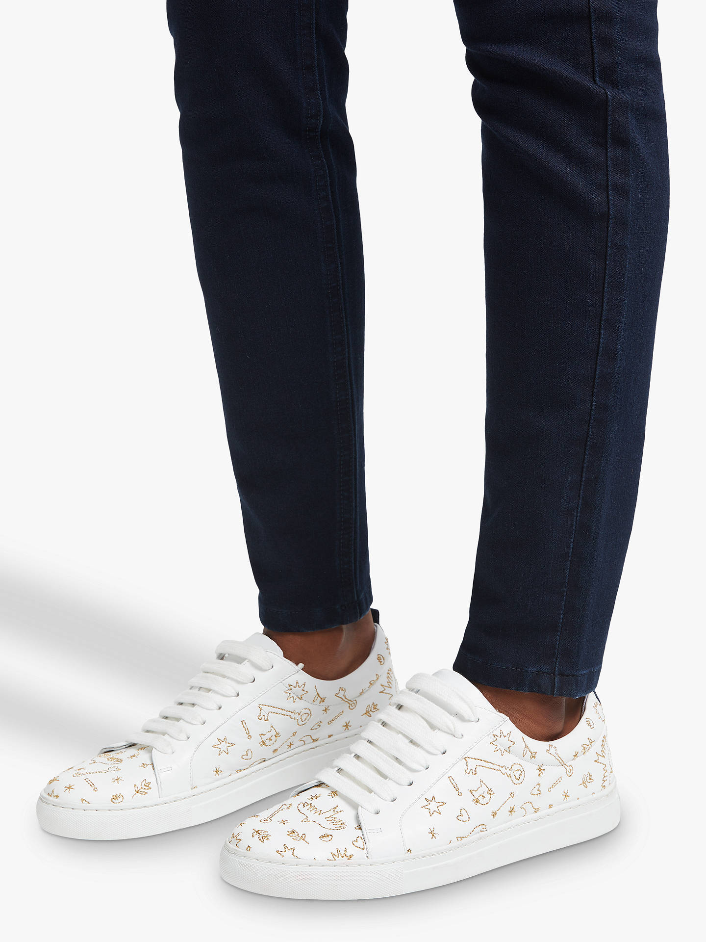 Buy Boden Classic Novelty Embroidered Trainers, Gold Leather, 4 Online at johnlewis.com