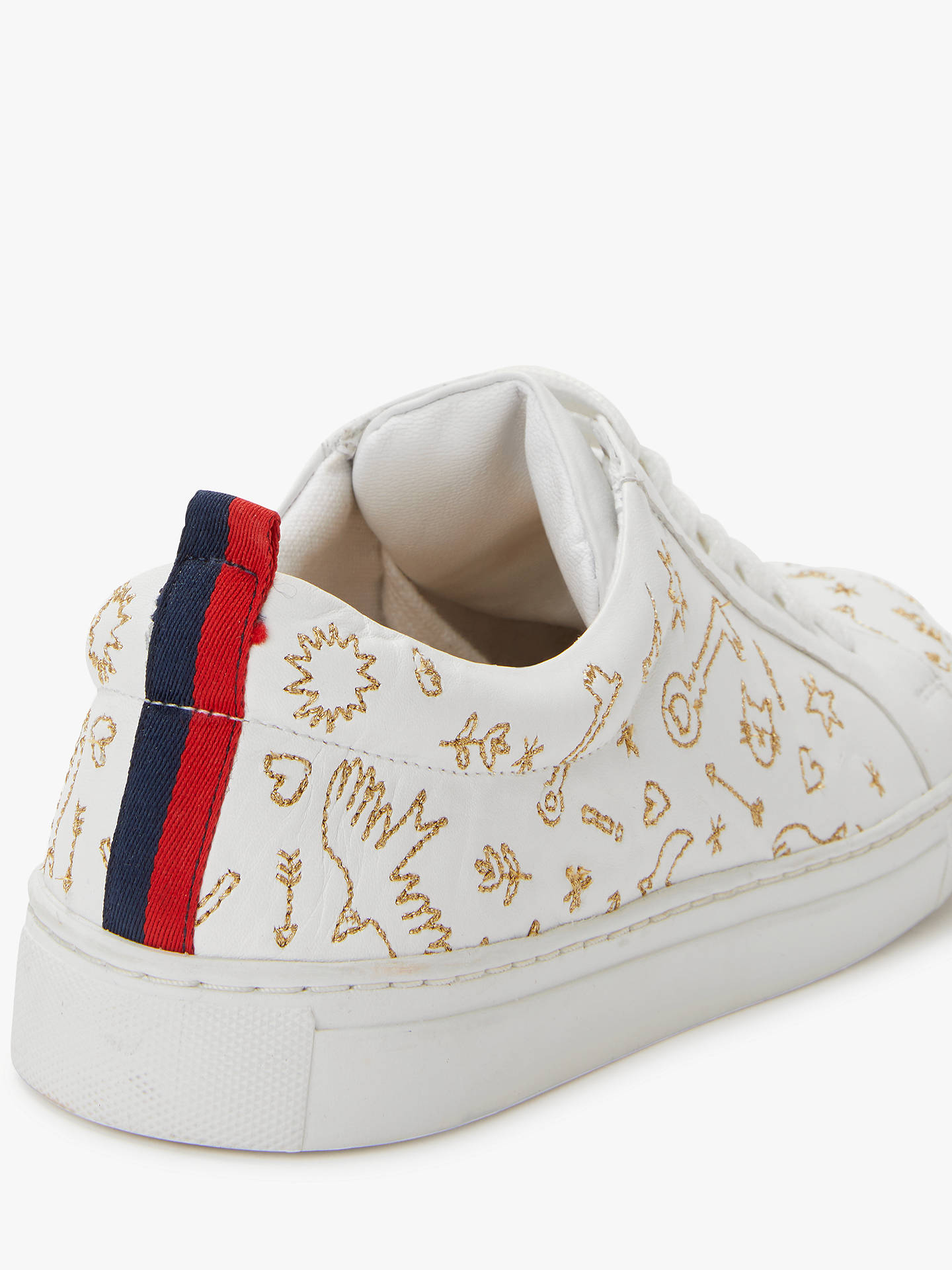 BuyBoden Classic Novelty Embroidered Trainers, Gold Leather, 4 Online at johnlewis.com