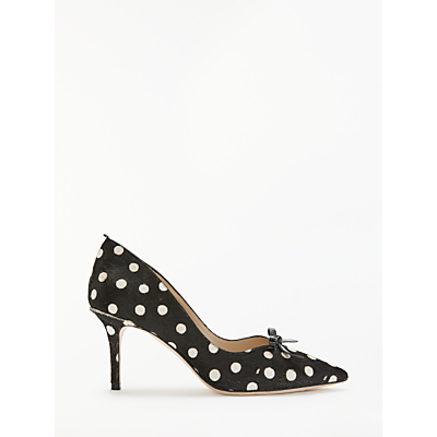 Boden Eleanor Spotted Bow Court Shoes, Black/White Leather